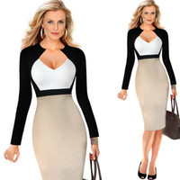 Wholesale Tight Pencil Dresses For Women - Spring Summer Woman Bodycon Sheath Dress Long Sleeve High Waist Party Dresses Women Clothing Sexy Female Pencil Tight Dress for Party