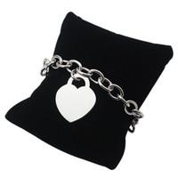 Wholesale Engraved Locks - Famous Brand Chain & Link Bracelets Love Heart Lock Link Chain Chunky Bracelets & Bangles For Women Men Can be Engrave Name on