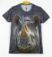 Wholesale Yellow Hippo - Animal t shirt tshirts for men Hippo tiger lion wolf Giraffe printed 3d mens shirts O neck short sleeve casual tops party SX-276