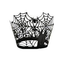 Wholesale Halloween Spider Cake - Wholesale-Black Spider Halloween Cup Liners Baking Cup Pumpkin Paper Cake Muffin Kitchen Cupcake Cases Birthday Party