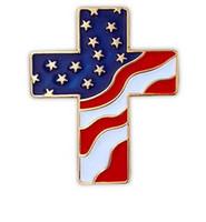 американские свадебные головные уборы оптовых-Патриотический крест Соединенные Штаты Америки американский флаг отворот шляпа куртка Pin