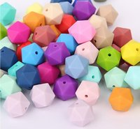 Wholesale Wholesale Silicone Teething Beads - 200Pcs Lot Mixes Colors Charms Silicone Beads For Teething Necklace Jewelry DIY Icosahedron Beads Better Than Hexagon 2017 June Style