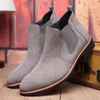 i̇ngiliz tarzı toptan satış-Erkekler Chelsea Çizmeler Hakiki Süet Deri Dikiş Ipliği Erkekler Ayak Bileği Çizmeler İngiltere Stil Ayakkabı Deri Erkek Botları