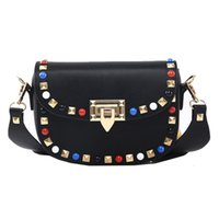 Wholesale Handbag Leather For Ladies Army - NEW HOT 2018 Fashion Rivet Mini PU Leather Crossbody Bags For Women's Famous Designer Handbags Ladies Shoulder Bags