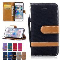 iphone hüllen cowboy großhandel-Für iphone 5 5 s brieftasche pu ledertaschen cowboy tuch abdeckung stehen mit kartentaschen flip bucklet handschlaufe