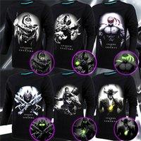 Wholesale Luminous Mens Shirts - Creative Mens 3D Glow In The Dark Luminous T Shirt League of legends Men Printed Long Sleeve 2016 Summer Men Clothes 14 Styles