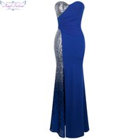 Wholesale Sliver Strapless Mermaid Dress - Angel-fashions Women's Sweetheart Sliver Sequin Classic Stitching Split Mermaid Red Carpet Formal Occassion Evening Dress A-335BE