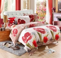 Wholesale Cheap Girls Comforters - Cheap Bedding Sets 4PCS Full Queen King Size Luxury Floral Girls Bedding Set 3D Bed linen Bed Sheet Duvet Cover Pillow Case