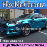 гибкий стрейч оптовых-High Stretch Chrome Светло-синий с воздушным пузырем Бесплатный гибкий зеркальный хром