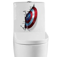 Wholesale Small Avengers Cartoon - The Avengers Cartoon DIY Captain America Toilet Wall Stickers For Bathroom Rooms Marvel Super Hero Wall Decals