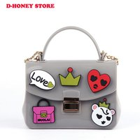Wholesale One Shoulder Satchel Handbags - Factory wholesale Baby women Toddler Fashion children Princess Candy jelly printed bag handbag silicone Satchel Baby Messager Bags