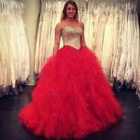 15 kleider rot geschwollen großhandel-2017 neue Gold Pailletten Red Puffy Rock Quinceanera Kleider Ballkleid Schatz Sleeveless Lange Junior Süße 15 Prom Party Formale Kleider
