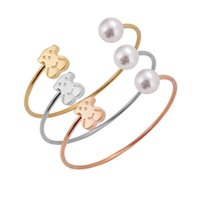 spain bracelet - The new titanium steel trade hit Spain bear can adjust the size of pearl bracelet