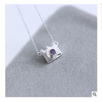 Wholesale Wholesale Sterling Silver Body Chain - Wholesale- 2017 Trendy Silver Purple Crystal Camera Necklaces for Women Collier Femme Sterling-SIlver-Jewelry Necklace Body Chain Bijoux