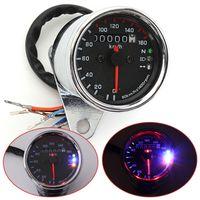 Wholesale Odometer Miles - Brand New Universal Auto Motorcycle LED Dual Odometer Test Miles Speedometer Gauge AUP_300