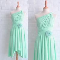 Wholesale Cheap Short Asymmetrical Dresses - Cheap Mint Bridesmaid Dresses 2016 Convertible Asymmetrical Neckline Chiffon Pleats Hand Made Flowers Short Maid Of Honor Dresses