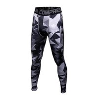 Barato Camo Seco Rápido-New Men Base Layer Quick Dry Slim Joggers Army Pants Fitness Camo Respirável Elastic Tights Camouflage Compression Leggings Man