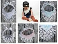 Wholesale Baby Boy Crochet Lace - 2017 Bebe Crochet Lace Burping Bandana Bibs Baby Boy Girl Ribbon Bow Burp Cloths kids Waterproof Bib