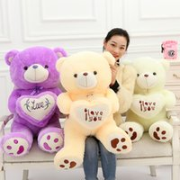 Wholesale Wholesale Teddy Bears For Valentines - Teddy Bear Dolls Beetle Plush ILOVEYOU Hold Heart Bears Filled With PP Cotton Multicolor Select For Valentine Day Gift 20yz I1