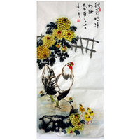 original chinese paintings - Traditional Chinese Painting Autumn Chicken Ink Animal Original Art Unframed Xuan Paper Size136CM CM Envelope Drop Shipping