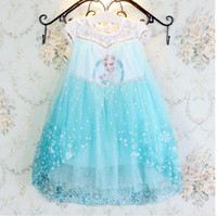 Wholesale 2017 new arrival frozen essar princess dress girls elsa kids summer children lovely dress with high quality and beautiful pattern