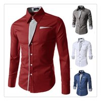 Wholesale Korean Mens Shirt Designed - Mens Shirts Cotton Korean Style Spring Fashion Stripe Stitching Design Men's Casual Long Sleeved Shirts US Size:XS-XL