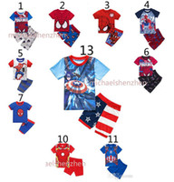 pajamas man - Boys spiderman Homecoming Pajamas suits DHL children Avengers Captain America Iron Man Short sleeve T shirt shorts suit B001