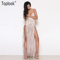 Wholesale Date Night Dresses - Wholesale- Toplook Heavy Metal Long Dress Sequined Fringed Party Dress Women Sexy Slit Dating Perspective Halter Evening Vestidos Female