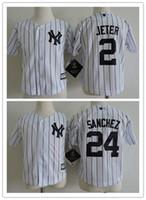 Wholesale Boys Cool Shirt - NWT Toddler 2 Derek Jeter Jersey 24 Gary Sanchez New York Yankees Baseball Preschool Jerseys Cool Base White Pinstripe Stitched Shirt S-L