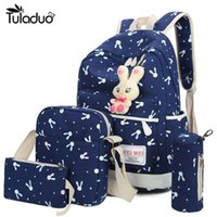 Wholesale 4Pcs Sets Women Backpacks Cartoon Rabbit Printing School Backpack Canvas Schoolbags for Teenage Girls Students Bag Children