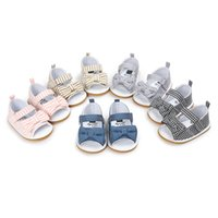 Wholesale Rubber Sole Shoes For Baby - Baby girls bowknot plaids fabric Sandals sweety cute princess striped first walkers infants summer soft sole shoes for 0-2T
