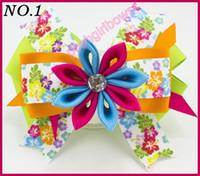 Wholesale Kanzashi Hair Clips - free shipping 30pcs 4.5''kanzashi flower layered hair clip Girl hair accessories baby hair bows Bow clips for girls