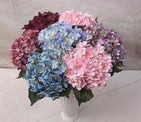 décoration de mariage jardin rose violet achat en gros de-Hortensia artificielle fleur de soie Faux feuille Accueil Party Garden Wedding Room décoration blanc / rose / violet / hotpink / vert