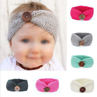 Wholesale white baby yarn online - Kids Girls Boy Baby Headband Toddler Wool Yarn Button Hair Band Accessories
