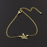 Wholesale Crane Snap - Wholesale 10Pcs lot 2017 New Promotion Fashion Bracelets Snap Jewelry Bracelets Cute Origami Crane Gold Bracelets for Men Women