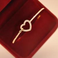 Wholesale Simple Elegant Gold Bangle - Wholesale-New Stylish Lady Cuff Simple Gold Plated Charm Heart Crystal Elegant Bangle Fashion Bracelet Jewelry