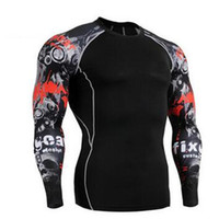 Wholesale Wholesale Workout Shirts - New Arrival Men's Printed Compression Sports Tops Workout Clothing T-Shirt Quick Dry Long Sleeve Sports Fitness Gym Apparel