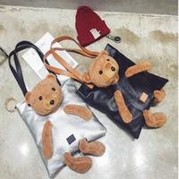Wholesale Leather Handles For Handbags - Cute Bear Shoulder Bags Top-Handle Bags Pu Leather Big Women's Handbags Vintage Tote Bag High Quality Black For Women