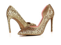 Wholesale Pearl Lighter - 2017 Hot Selling Sexy New style high heels shoes Bright Gold Silver crystal wedding bride lighter shoes for women's shoes DHL free ship