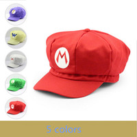 Wholesale Super Mario Characters Costumes - Super Mario Cotton Caps hat Red Mario and luigi cap 5 colors Anime Cosplay Halloween Costume Buckle Hats Adult Hats Caps
