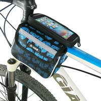 Wholesale Mtb Frame Double - B-SOUL Bicycle Touch Screen Phone Bag MTB Bike Front Frame Bag Cycling Top Tube Bag Panniers Double Pouch For 5.5inch phone