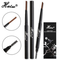 Wholesale Stencil Pencils - HaLu Brand Double-purpose Waterproof Long-lasting Makeup Eyebrow Pencil Cosmetics Beauty Tools 4 color Gift Eyebrow Enhancers Stencils