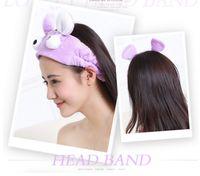 Wholesale Headband Rabbit Korea - Fashion Cartoon Headband Lovely Korea Wash Face Headwear Candy Colors Rabbit Ears Eye mask Headbands Shower Cap Scarf Bathroom Essential