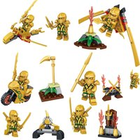 Wholesale Wholesale Ninja Weapons - 24pcs lot Gold Ninja Figures with Weapons Minifig Cole Kai Jay Lloyd Nya Skylor Zane Figures Ninja Mini Building Blocks Figures Toys