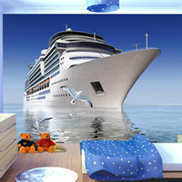 Wholesale Seagulls Wall - Custom Photo 3D Wallpaper Blue Sky Cruise Seagull Backdrop Living Room Bedroom TV Background Decorative Mural wallpaper for wall