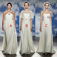 Wholesale Bridal Sheer Fabric - simple beach chiffon wedding dresses 2017 jenny packham bridal A-line floor length high fabric wedding gowns
