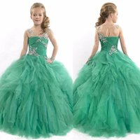 red pageant dresses for kids glitz 2018 - vintage princess green beading floor length ball gown kids prom pageant dresses for toddler girls glitz pageant dresses