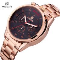 Wholesale Hour Hand Men - MEGIR Black Watch Top Brand Luxury Men Full Steel Watches Chronograph 6 Hands 24 Hours Military Watch Relogio Masculino  ML3005