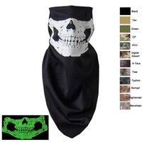 Wholesale Outdoor Airsoft Paintball Shooting Equipment Half Face Tactical Airsoft Mask Glow in the Dark Ghost Skull Mask