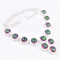 Wholesale 925 Silver Dragon Necklace - New Arrival Real Tennis, Graduated Mexican Women's Dragon 925 Sterling Silver Natural Stone Mystic Topaz Crystal Necklace Jewelry N0096